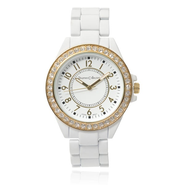 Journee Collection Matte Round Rhinestone Case Link Bracelet Watch
