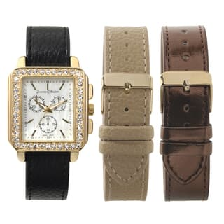Journee Collection Women's Square Rhinestone Paved Face Interchangable Strap Watch|https://ak1.ostkcdn.com/images/products/9579897/P16769300.jpg?impolicy=medium