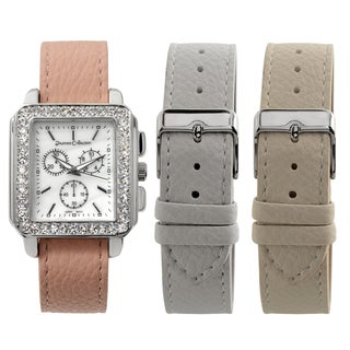 Journee Collection Women's Square Rhinestone Paved Face Interchangable Strap Watch