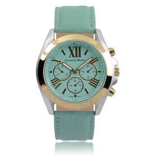 Journee Collection Women's Round Roman Numeral Dial Faux Leather Strap Watch