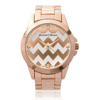 Journee Collection Women's Round Chevron Print Dial Link Watch Watch