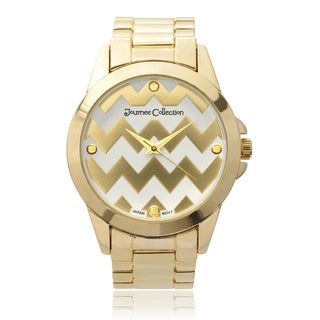 Journee Collection Women's Round Chevron Print Dial Link Watch