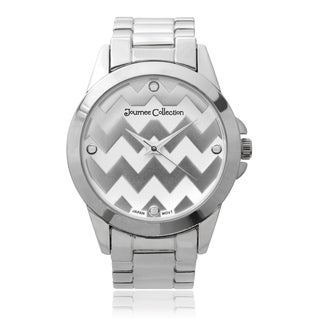 Journee Collection Round Face Chevron Print Link Watch