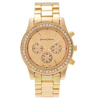 Journee Collection Rhinestone Round Face Quartz Link Watch