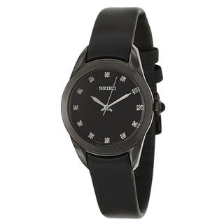 Seiko Women's 'Strap' Black Stainless Steel Quartz Watch