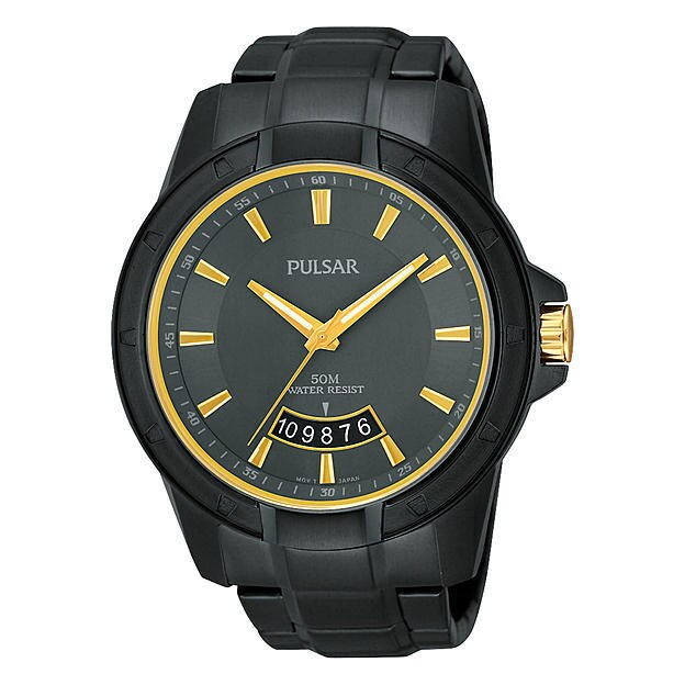 PULSAR Men's 'On The Go' Stainless Steel Black Ion-plated...