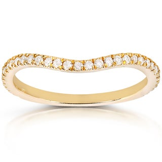 Annello by Kobelli 14k Yellow Gold 1/5ct TDW Curved Diamond Wedding Band Ring (G-H, I1-I2