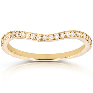 Annello by Kobelli 14k Yellow Gold 1/5ct TDW Curved Diamond Wedding Band Ring