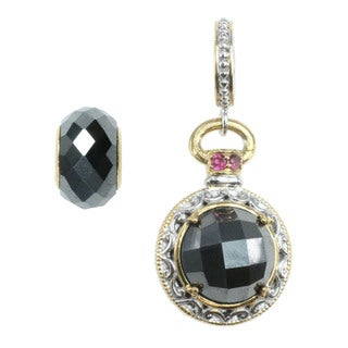 Michael Valitutti Hematite and Pink Tourmaline Coin Charm with Hematite Bead Set