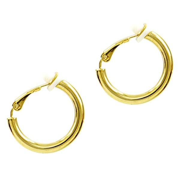 overstock earrings brass clip on hoop earrings free shipping today 7979