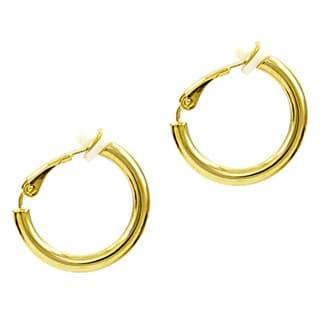 Brass Clip-on Hoop Earrings