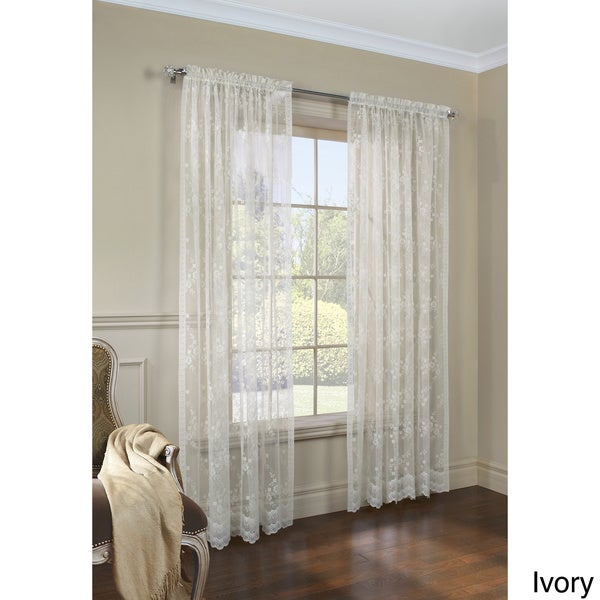 White/Ivory Polyester 56-inch x 63-inch Knit Lace Bird Motif Window ...