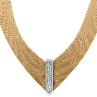 Gioelli Sterling Silver Yellow Goldplated Italian Cubic Zirconia Mesh Designer Necklace