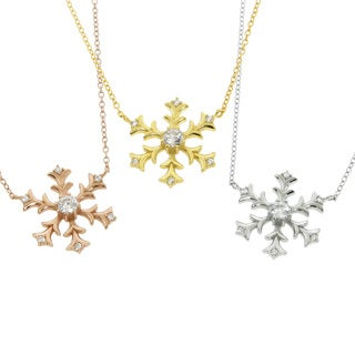 Eternally Haute Sterling Silver 1/2ct TW Cubic Zirconia Snowflake Necklace