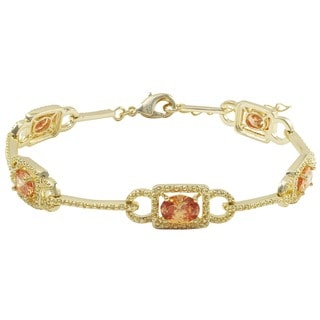 Luxiro Gold Finish Oval Champagne Cubic Zirconia Filigree Bracelet