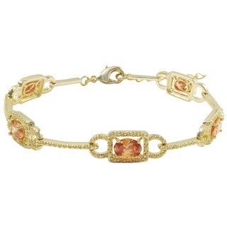 Luxiro Gold Finish Oval Cubic Zirconia Filigree Bracelet