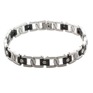 Unending Love 10k White Gold and Stainless Steel Men's 1/10ct TDW Diamond Bracelet (K-L, I2-I3)
