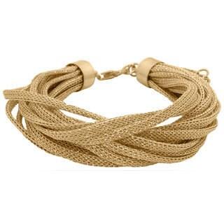 Gioelli Silverplated Yellow Goldplated Multi Strand Mesh Bracelet