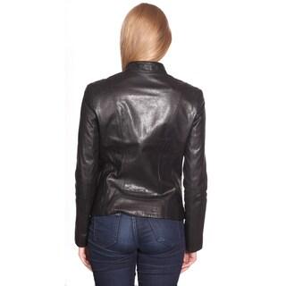 NuBorn Leather Women's 'Charlene' Leather Moto Jacket