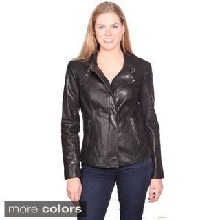 NuBorn Leather Women's 'Charlene' Leather Moto Jacket