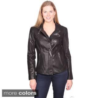 NuBorn Leather Women's 'Charlene' Leather Moto Jacket|https://ak1.ostkcdn.com/images/products/9580084/P16769461.jpg?impolicy=medium