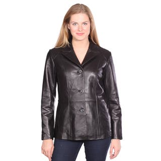 Women's 'Tribeca' Black Leather Blazer|https://ak1.ostkcdn.com/images/products/9580085/P16769464.jpg?impolicy=medium