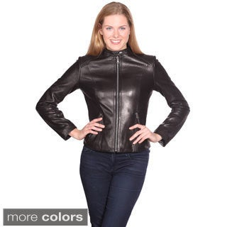 Women's 'Mika' Leather Scuba Jacket