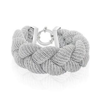 Gioelli Silverplated Italian Braided Mesh Designer Bracelet