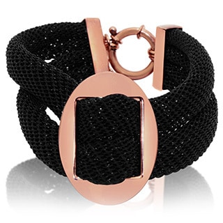 Gioelli Rose Goldplated Bronze Italian Two-tone Double Row Mesh Bracelet