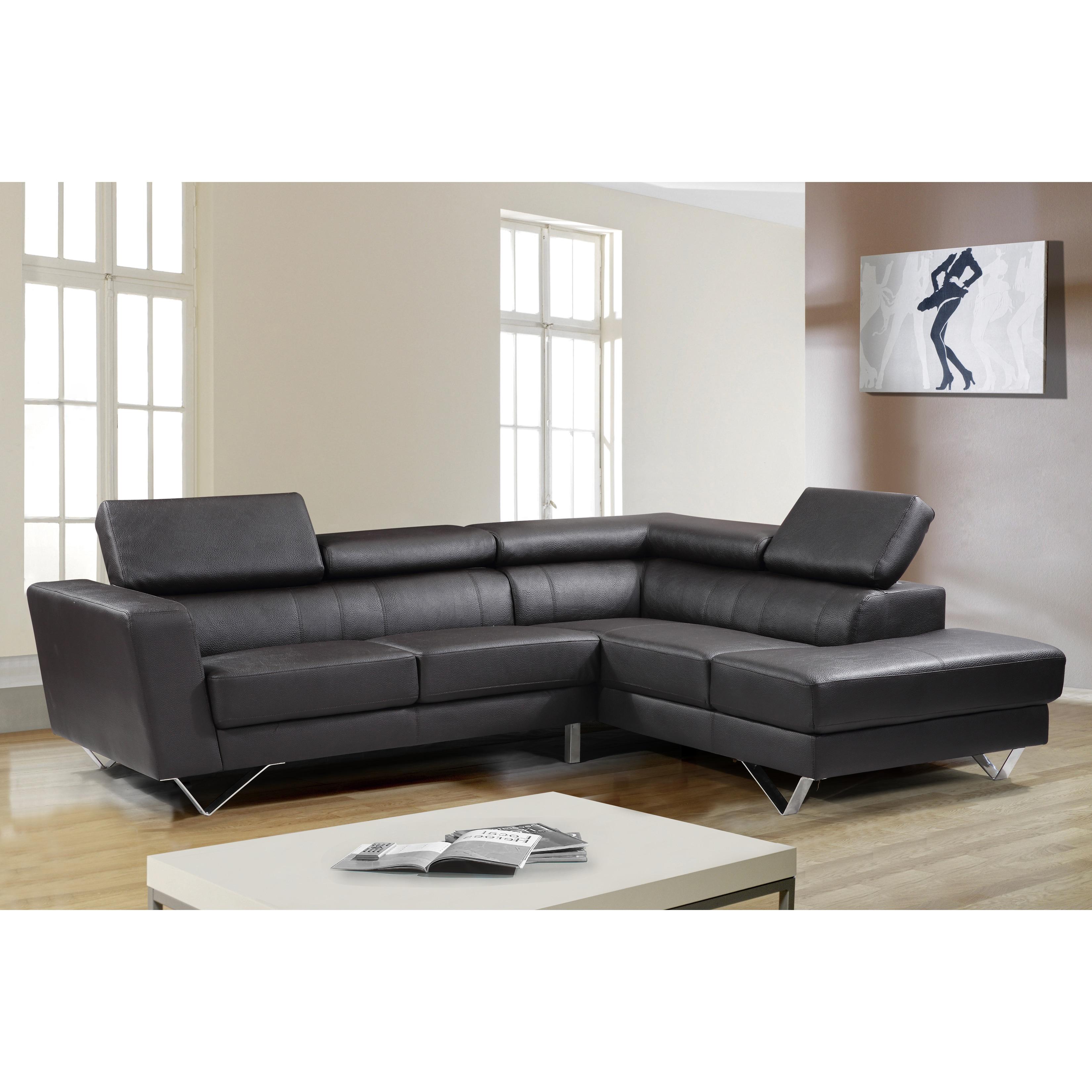 US Pride Furniture Delia Chocolate Leather Modern Right C...