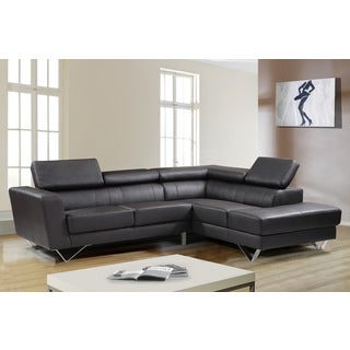 Delia Chocolate Leather Modern Right Chaise Sectional Sofa Set