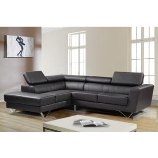 Delia Chocolate Leather Modern Left Chaise Sectional Sofa Set