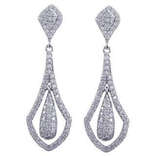Luxiro Sterling Silver Cubic Zirconia Floating Teardrop Dangling Earrings