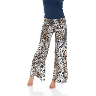 White Mark Women's Animal Print Palazzo Pants