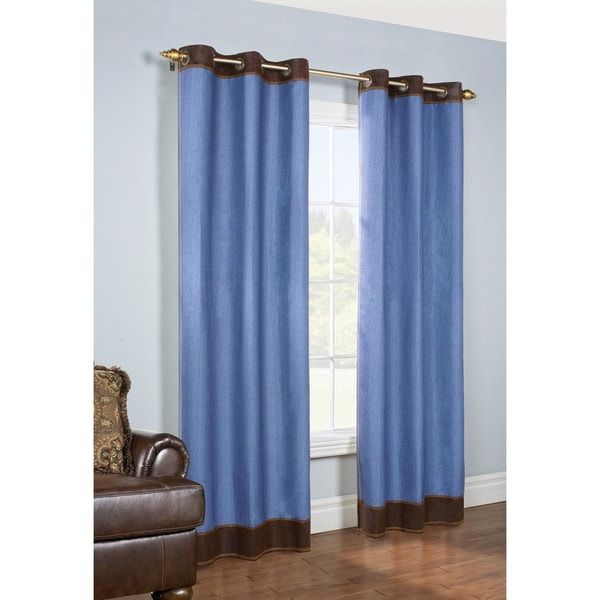 Construction Time Lined Curtains: Shop Lexi Insulated Faux Denim Curtain Panel Pair
