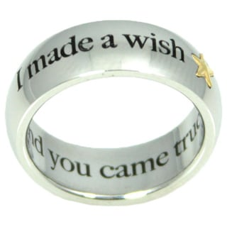 I Made A Wish And You Came True Stainless Steel Ring with Gold Star