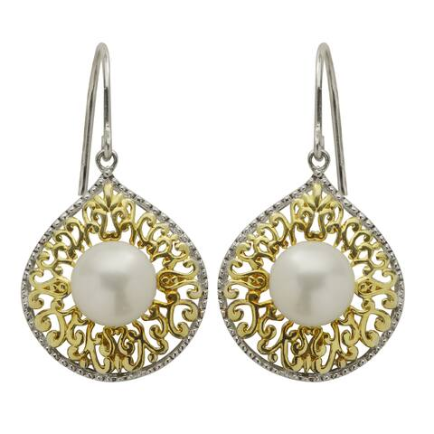 Pearls For You 14k Gold Over Silver Two-tone Freshwater Pearl Dangle Earrings (8-8.5 mm)