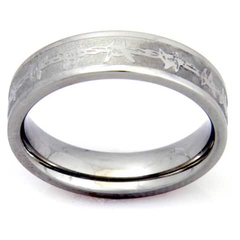 Women's Barbed Wire Stainless Steel Ring - Silver