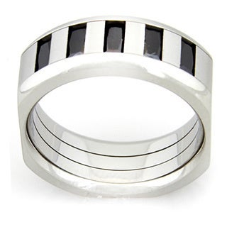 Black Cubic Zirconia Men's Stainless Steel Ring