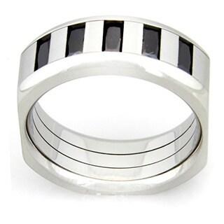 Black Cubic Zirconia Men's Stainless Steel Ring