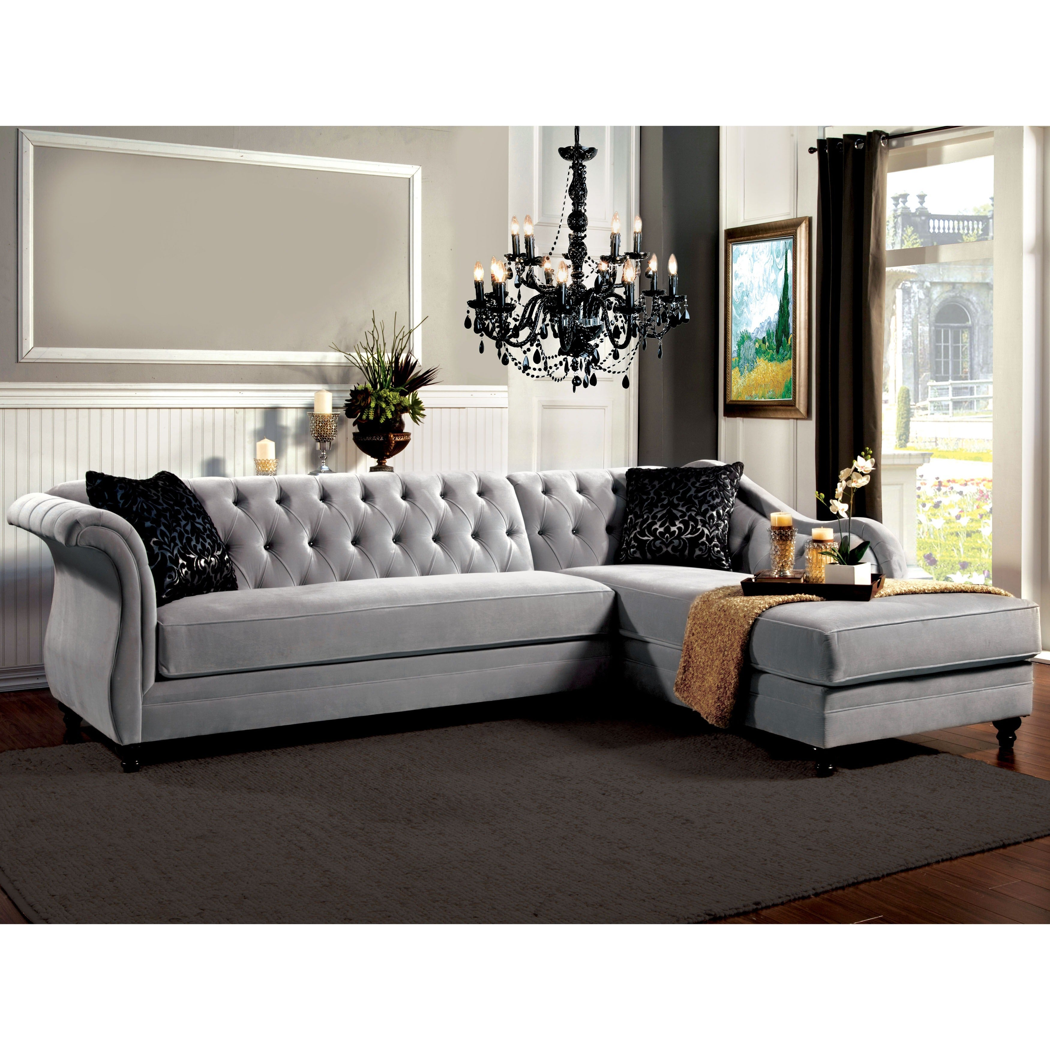 Furniture of America Elegant Aristocrat Tufted Sectional Free