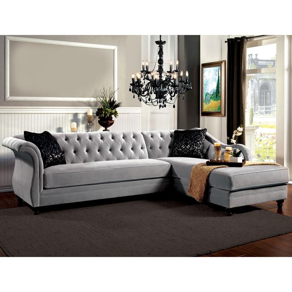 Furniture of America Gito Contemporary Velvet 2 Piece Sectional Sofa