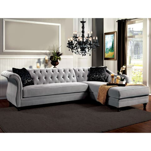 Furniture of America Gito Contemporary Velvet 2-piece Sectional