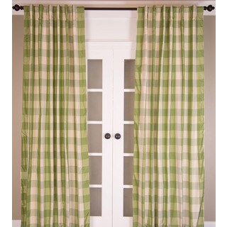Pure Silk Beige and Green Taffeta Check Curtain Panel