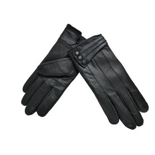 Women's Black Lambskin Leather 3-button Winter Gloves