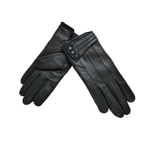 5b5d52b7befcf Shop Women's Black Lambskin Leather 3-button Winter Gloves - Free Shipping  On Orders Over $45 - Overstock - 9583610