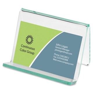 Lorell Acrylic Transparent Green Edge Business Card Holder