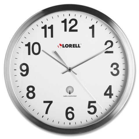 Lorell Brushed Nickel-plated Atomic Wall Clock