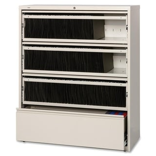 Lorell Steel Receding Lateral File with Roll-out Shelves