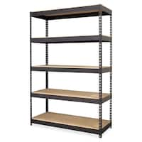 Lorell Riveted Metal Black Shelving
